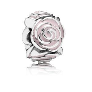 Roses Silver Charm with Pink Enamel Pandora